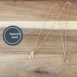 Gold Plated Pineapple Necklace NWT
